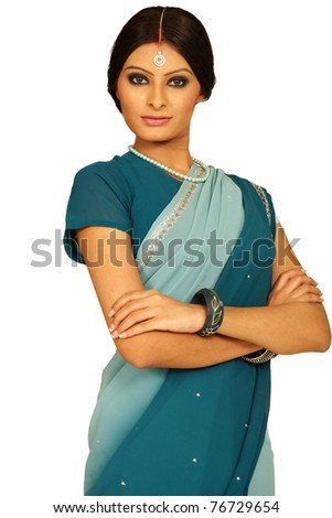 Beautiful indian brunette portrait - stock photo