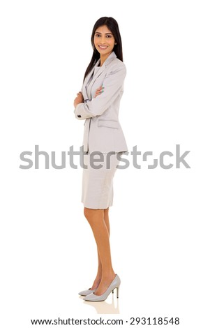 beautiful indian businesswoman with arms folded isolated on white - stock photo