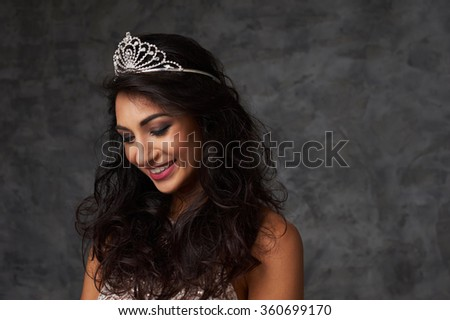 beautiful indian lady close up portrait with diadem