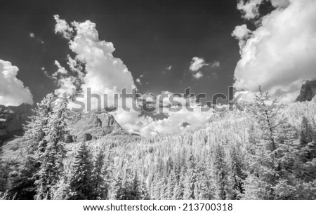 Beautiful infrared view of mountain landscape. - stock photo
