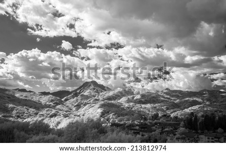 Beautiful infrared view of mountain landscape.