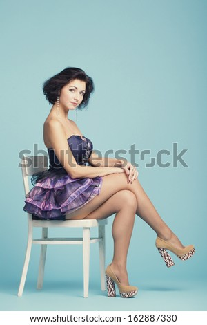 beautiful innocence girl on blue backround