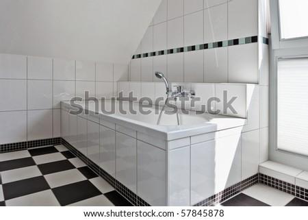 beautiful interior of a modern bathroom - stock photo