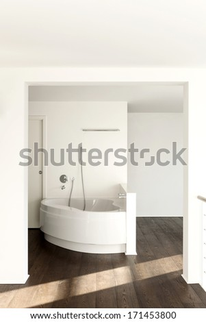 beautiful interior of a new apartment, view bathtub