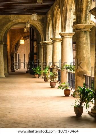 Beautiful interior of a spanish era convent in Havana - stock photo