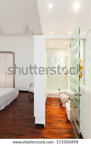 beautiful interior of hotel room, view bathroom