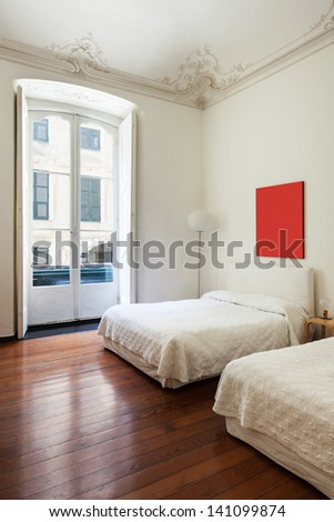 beautiful interior of hotel room, view bedroom - stock photo