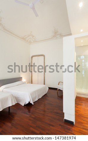 beautiful interior of hotel room, view bedroom
