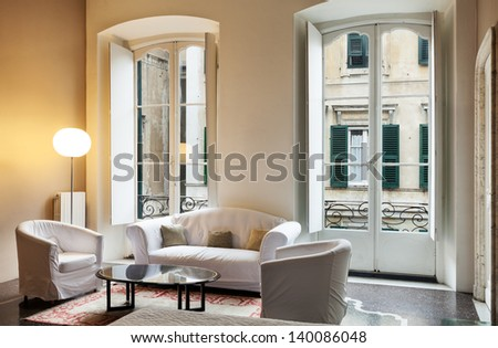 beautiful interior of hotel room, view living room - stock photo