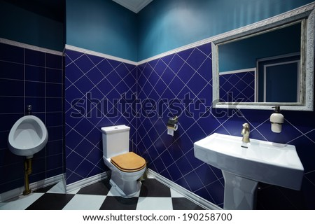 beautiful interior of modern toilet in bright colors