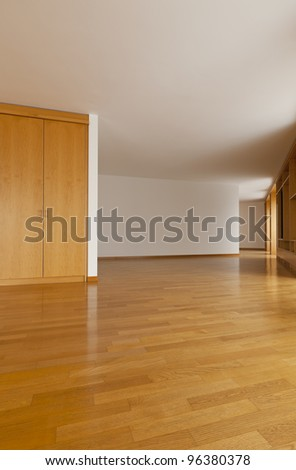 beautiful interior of new penthouse, wide hall - stock photo