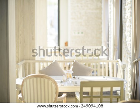 Beautiful interior of restaurant - stock photo