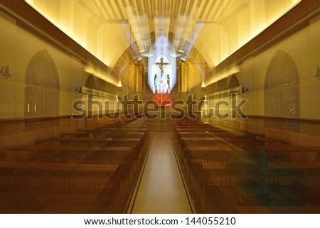 Beautiful Interior of St Theresa cathedral Chennai - stock photo