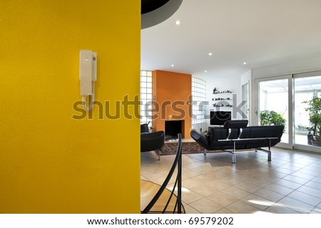 beautiful interior, view of the living-room with modern furniture - stock photo