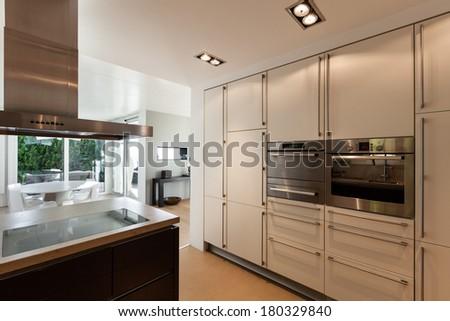 beautiful interiors of a modern house, domestic kitchen - stock photo