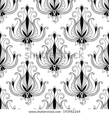 Beautiful intricate calligraphic floral arabesque seamless pattern with floral motifs with scrolling curled leaves suitable for fabric design or for print. Vector version also available in gallery - stock photo
