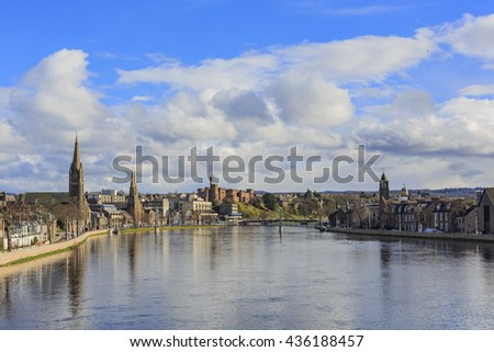 Beautiful Inverness cityscape with river view at Highland, Scotland