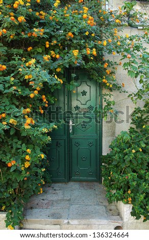 beautiful iron door in the street of Jerusalem. Israel - stock photo