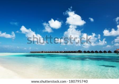 Beautiful island beach with at Maldives - stock photo