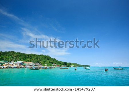 Beautiful island, blue sky and clear water in Koh Phi Phi Krabi, Thailand.