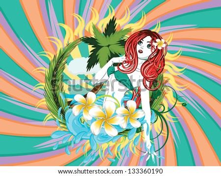 Beautiful island girl in green bikini with red hair and plumeria flower. - stock photo