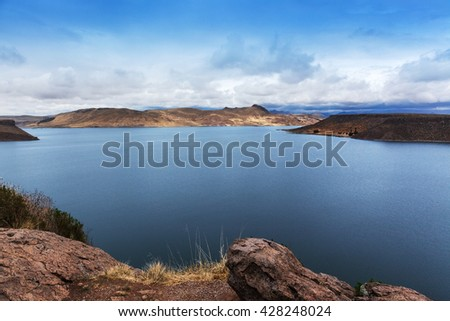 beautiful island in the mountain lake - stock photo