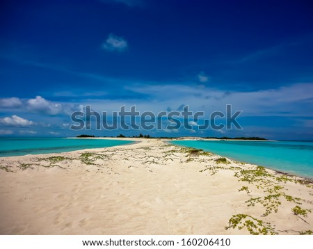 Beautiful island with an isthmus and beach on both sides in the archipelago of Los Roques, Caribbean - stock photo