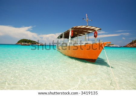 beautiful island with beautiful beach - stock photo