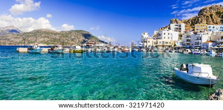 beautiful islans of Greece - Karpathos with pictorial capital Pigadia - stock photo