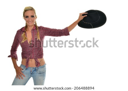 beautiful isolated cowgirl with hat - stock photo