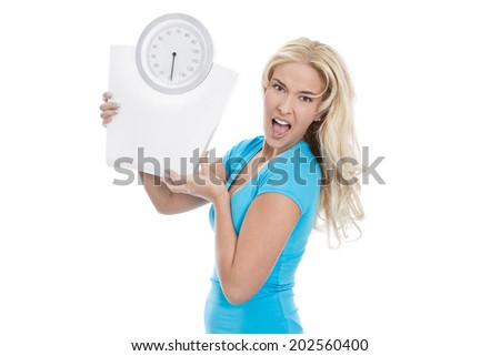 Beautiful isolated young girl with body balance looking desperate. Concept for eating disorders. - stock photo