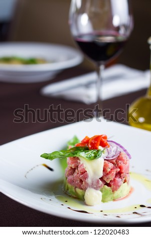 Beautiful Italian food in a restaurant with wine