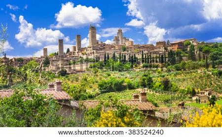 beautiful Italy landscapes. San Gimignano - Tuscany - stock photo