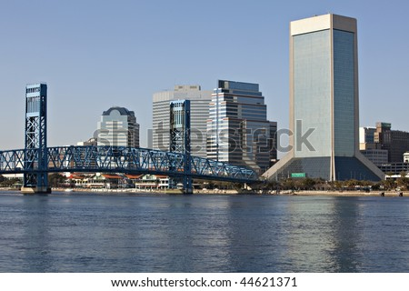Beautiful Jacksonville, Florida skyline with reflections in St. John's River - stock photo