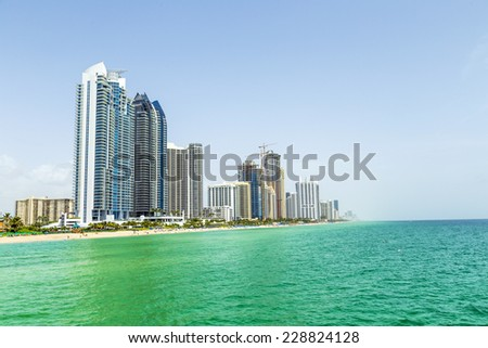 beautiful Jade Beach in Miami with skyscrapers