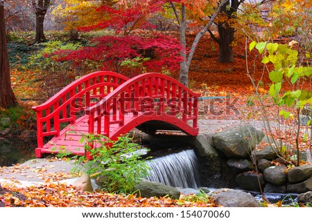 beautiful japanese garden in michigan in autumn time - Red Japanese Garden Bridge