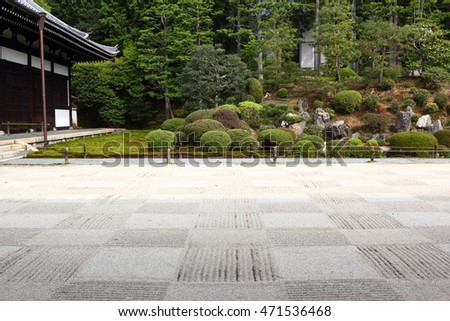 Beautiful japanese garden with checkered gravel pattern