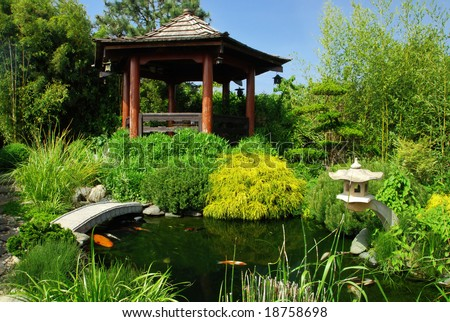 Beautiful Japanese garden with many plant species and water pond where you can see koi fish
