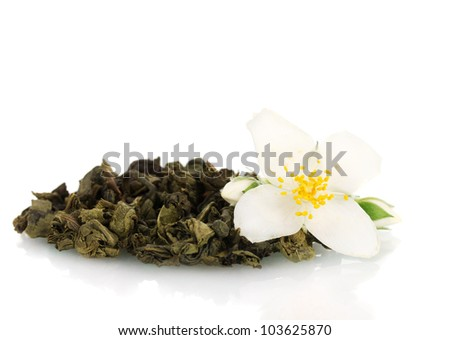 beautiful jasmine flower and dry green tea isolated on white - stock photo