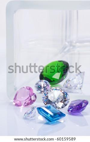 beautiful jewel, emerald, diamonds and sapphires - stock photo