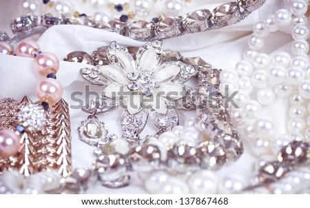 Beautiful jewelry background - stock photo