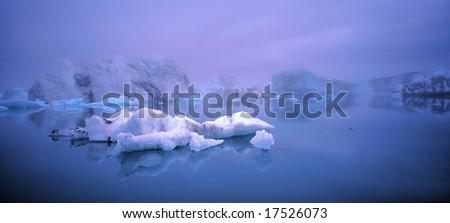 Beautiful Jokulsarlon panoramic in wide angle, Iceland - stock photo