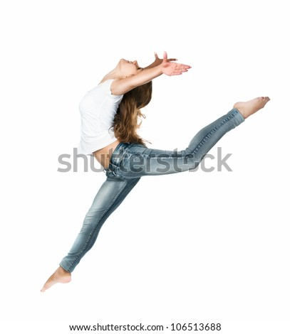 Beautiful jumping girl isolated on white background - stock photo