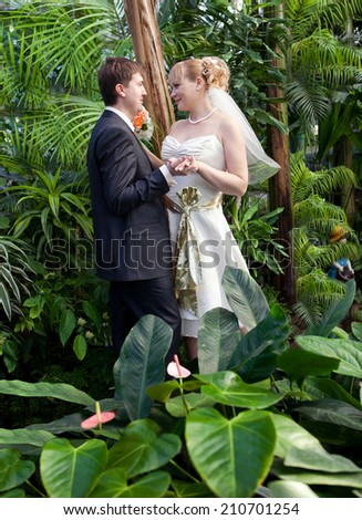Beautiful just married couple walking on path at jungles - stock photo