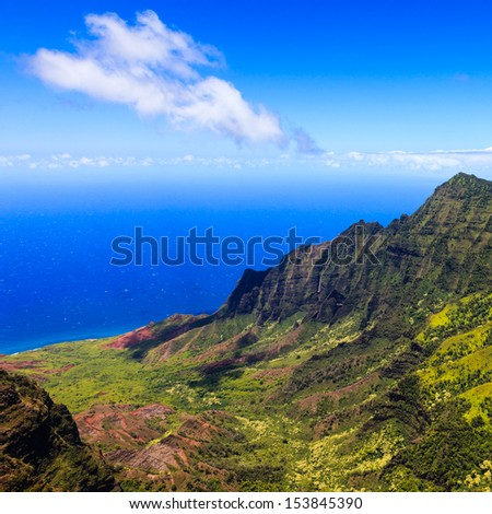 Beautiful Kalalau Valley in Kauai, Hawaii Islands. - stock photo