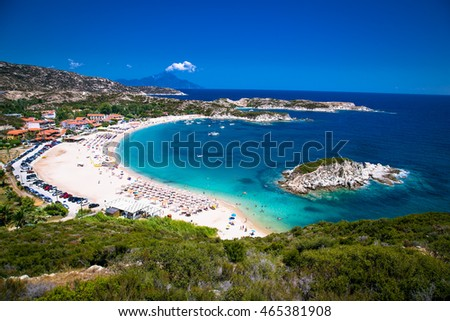 Beautiful Kalamitsii  beach on the east coast of Sithonia on Halkidiki, Greece.