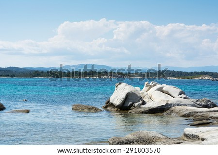 Beautiful Karidi beach with naturally sculpted stone - stock photo