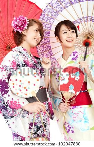 Beautiful kimono women. Portrait of asian women. - stock photo