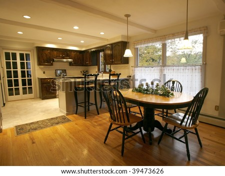 beautiful kitchen and eating area - stock photo