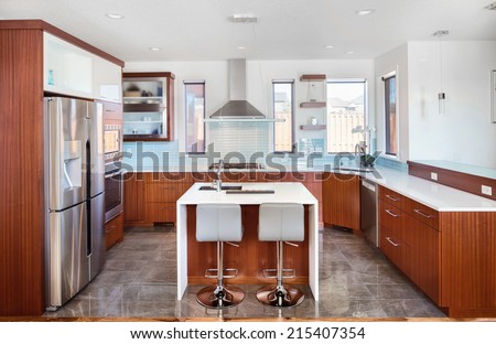 Beautiful Kitchen in Luxury Home - stock photo